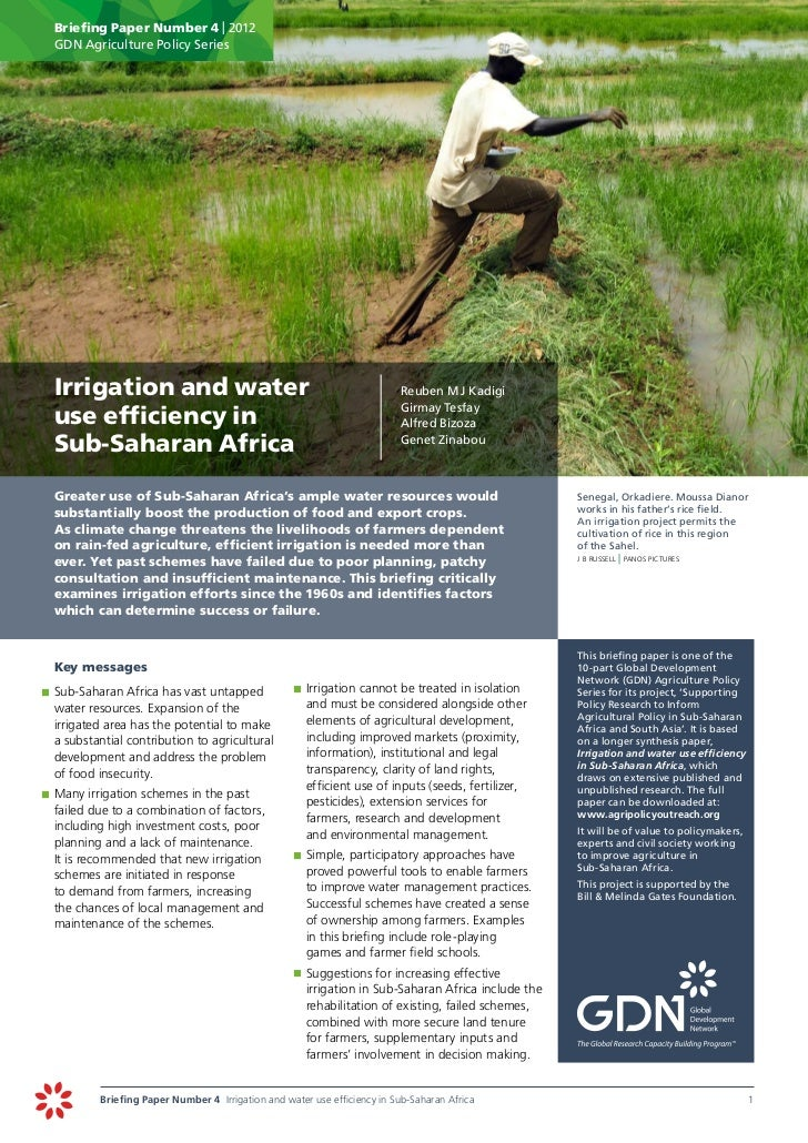 Briefing Paper Number 4 | 2012      GDN Agriculture Policy Series	 Irrigation and water                                   ...