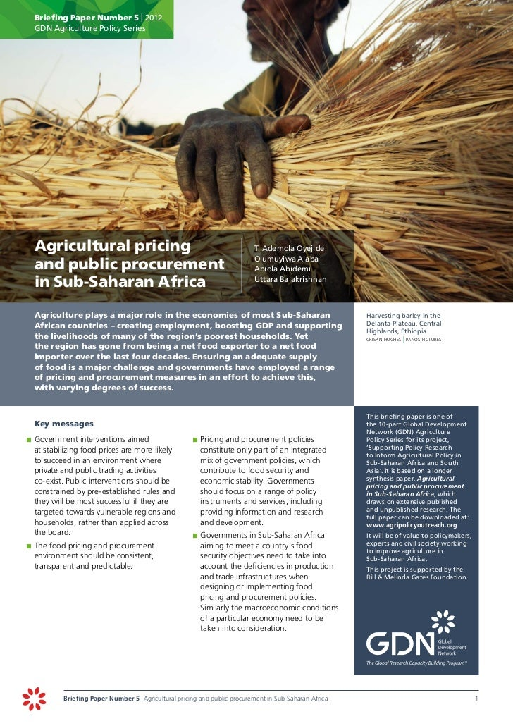 Agricultural pricing and public procurement in Sub-Saharan Africa