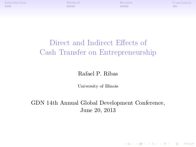 Direct and indirect effects of cash transfer on entrepreneurship