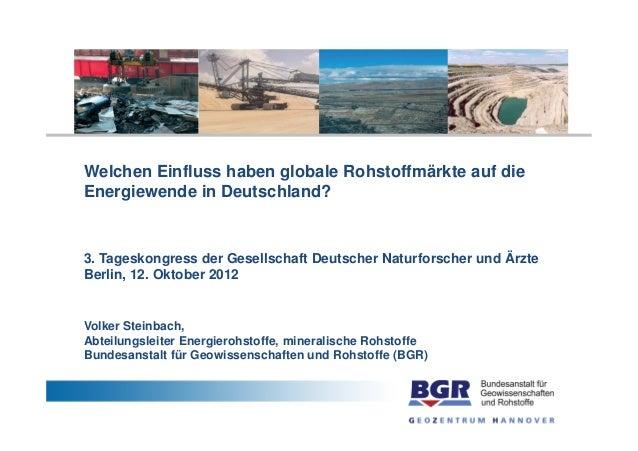 Welchen Einfluss haben globale Rohstoffmärkte auf dieEnergiewende in Deutschland?3. Tageskongress der Gesellschaft Deutsch...