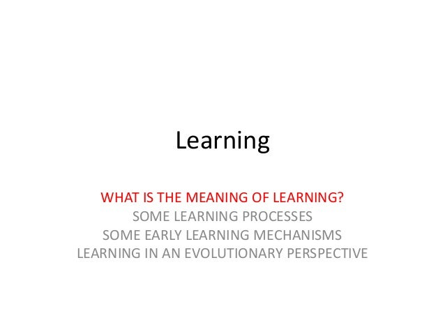 Learning WHAT IS THE MEANING OF LEARNING? SOME LEARNING PROCESSES SOME EARLY LEARNING MECHANISMS LEARNING IN AN EVOLUTIONA...