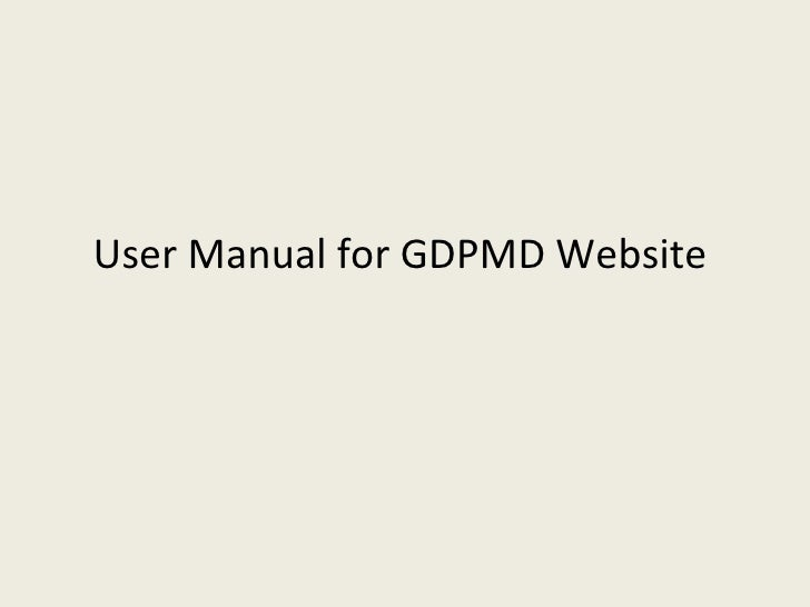 User Manual for GDPMD Website
