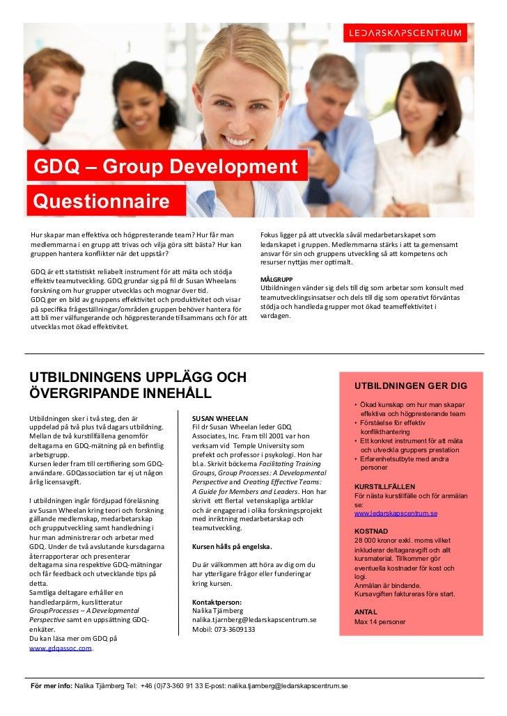 GDQ – Group Development Questionnaire                                                                                   ...