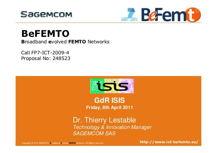 BeFEMTO Overview at GDR ISIS, Paris, France