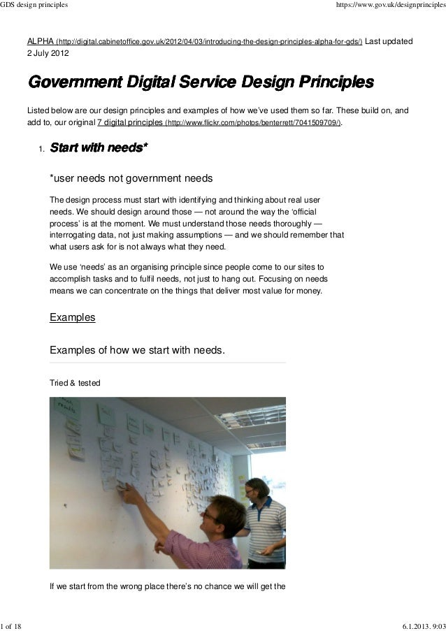 Government Digital Service Design Principles