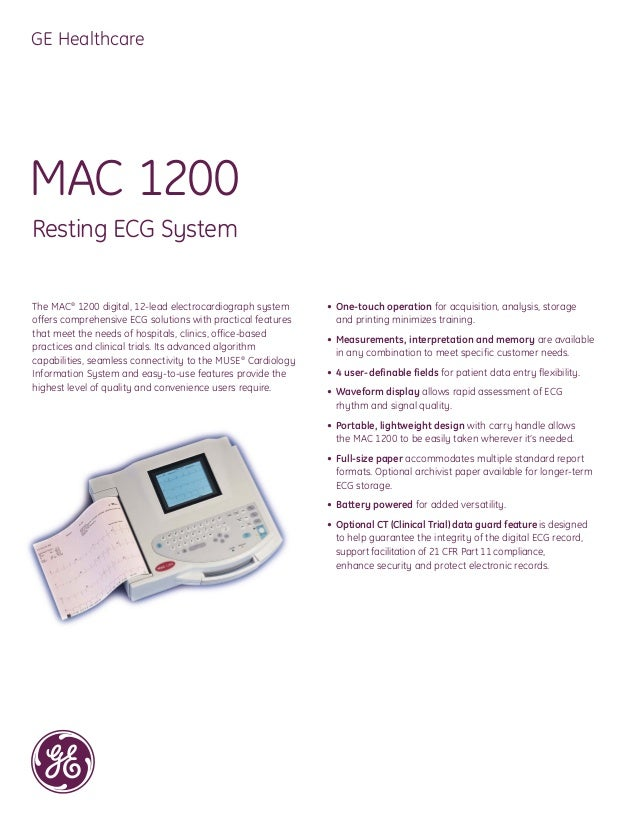 Ge mac1200 ekg machines