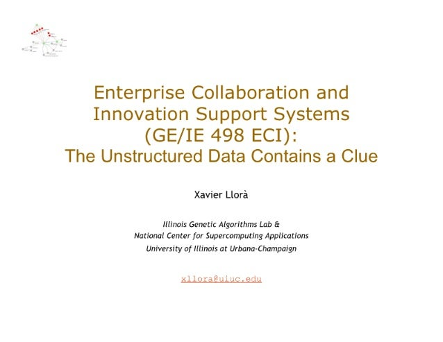 Enterprise Collaboration and Innovation Support Systems  (GE/ IE 498 ECI):  The Unstructured Data Contains a Clue  Xavier ...