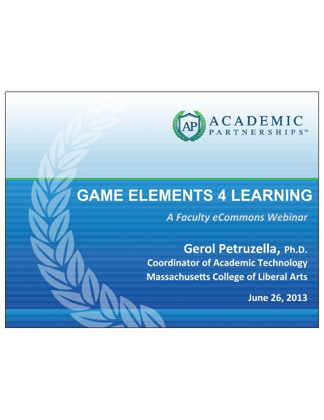 Game Elements for Learning