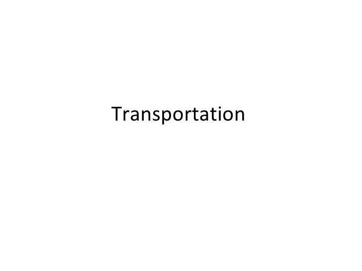 Transportation in Urban Planning