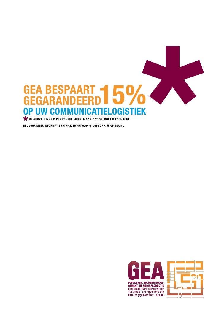 GEA BESPAART GEGARANDEERD oP Uw commUNicATiEloGiSTiEk                                                    15%    iN wERkEli...