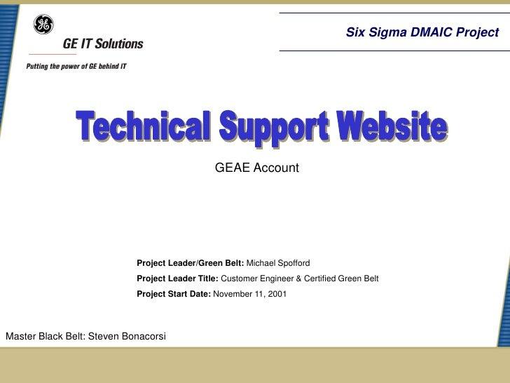 Geae Tech Support Website Six Sigma Case Study
