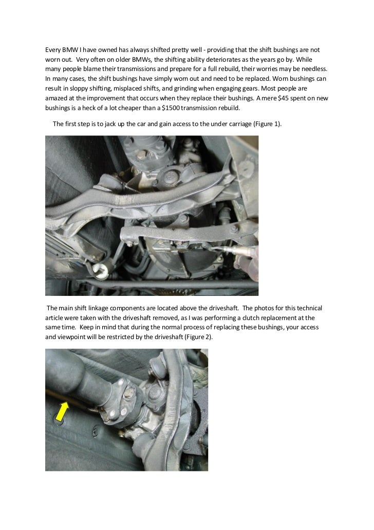 Every BMW I have owned has always shifted pretty well - providing that the shift bushings are notworn out. Very often on o...