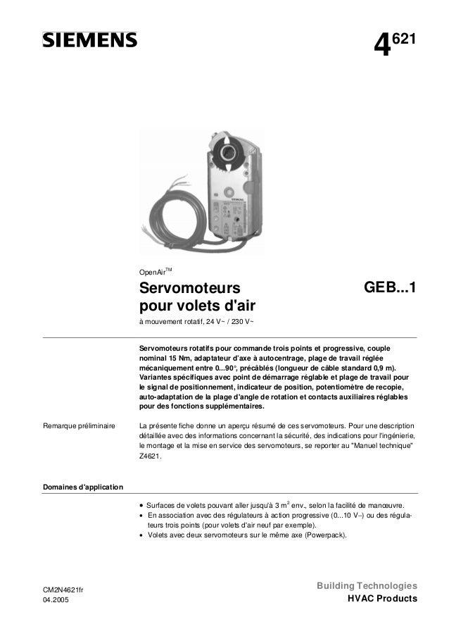 4  621  OpenAirTM  Servomoteurs pour volets d'air  GEB...1  à mouvement rotatif, 24 V~ / 230 V~  Servomoteurs rotatifs pou...