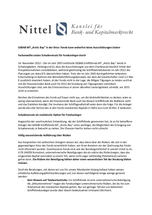 """GEBAB MT """"Arctic Bay"""" in der Krise: Fonds kann weiterhin keine Ausschüttungen leistenFachanwälte setzen Schadenersatz für ..."""