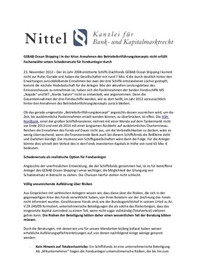 GEBAB Ocean Shipping I in der Krise: Annahmen des Betriebsfortführungskonzepts nicht erfülltFachanwälte setzen Schadenersa...