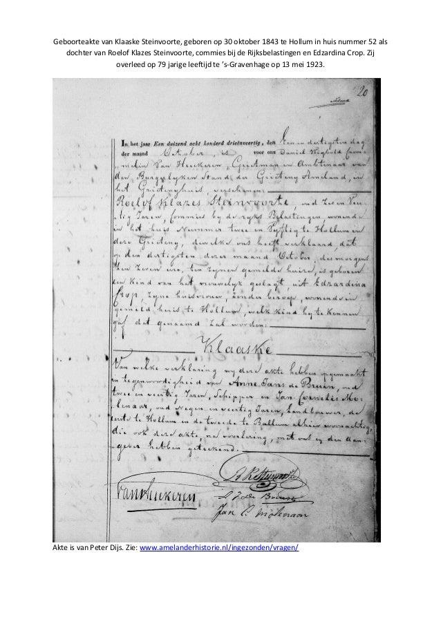 Geboorteakte van Klaaske Steinvoorte, geboren op 30 oktober 1843 te Hollum in huis nummer 52 als dochter van Roelof Klazes...