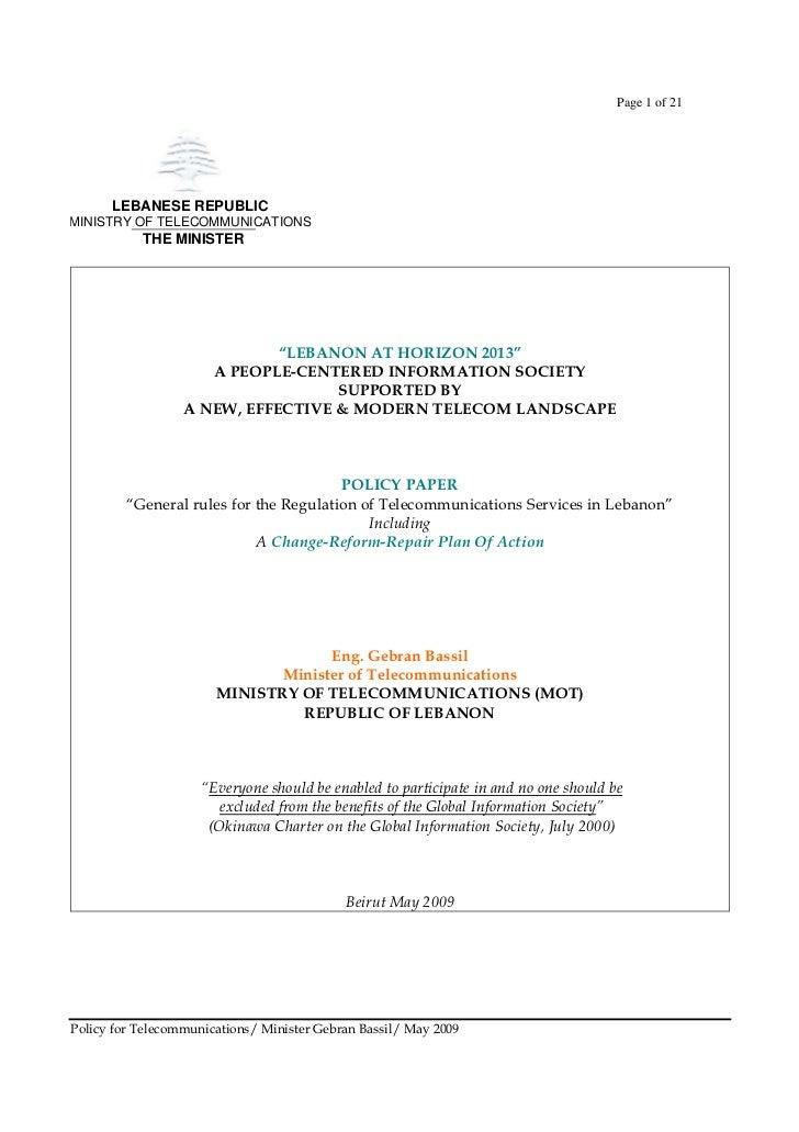 Gebran Bassil's 2009 Telecom General Rules