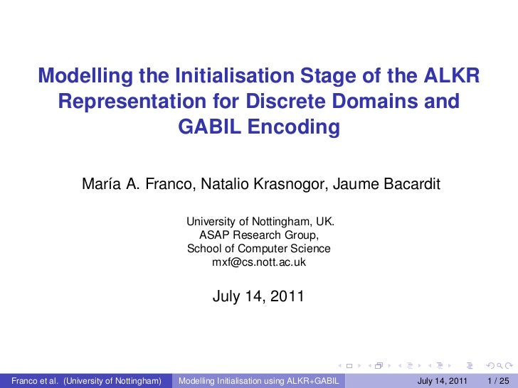 Modelling the Initialisation Stage of the ALKR Representation for Discrete Domains and GABIL Encoding