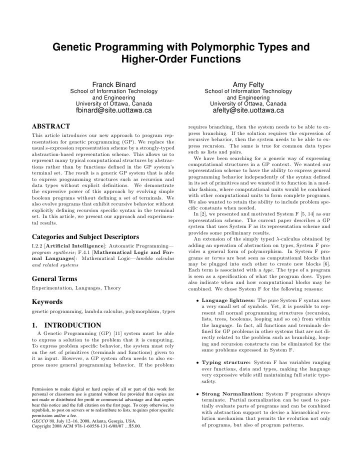 Genetic Programming with Polymorphic Types and                         Higher-Order Functions                             ...
