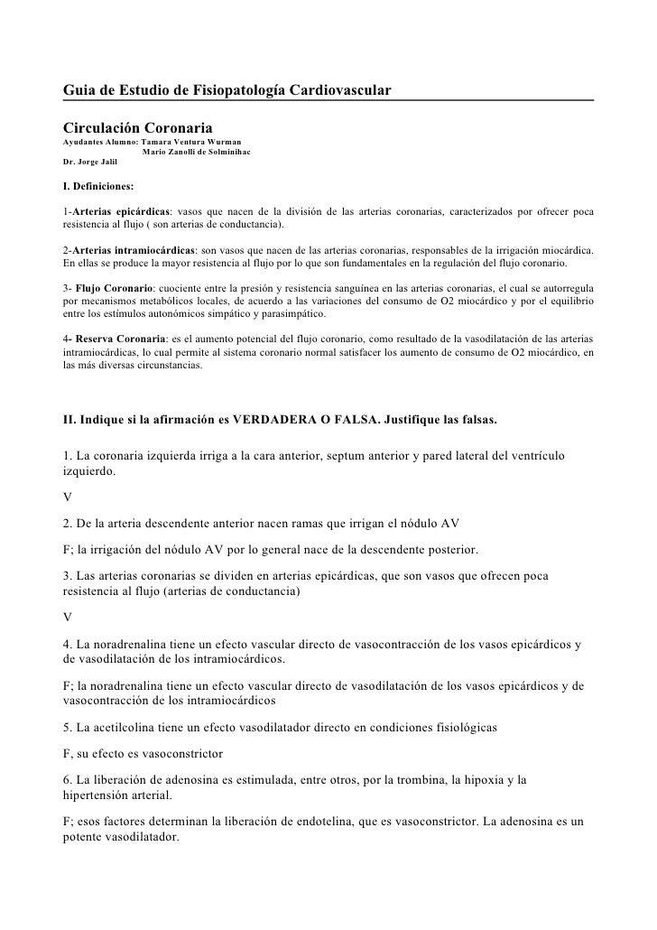 Guia de Estudio de Fisiopatología Cardiovascular  Circulación Coronaria Ayudantes Alumno: Tamara Ventura Wurman           ...