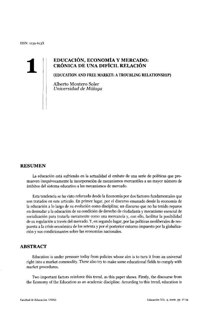ISSN: 1139-613X                             EDUCACIÓN, ECONOMÍA Y MERCADO:      1                   CRÓNICA DE UNA DIFÍCIL...
