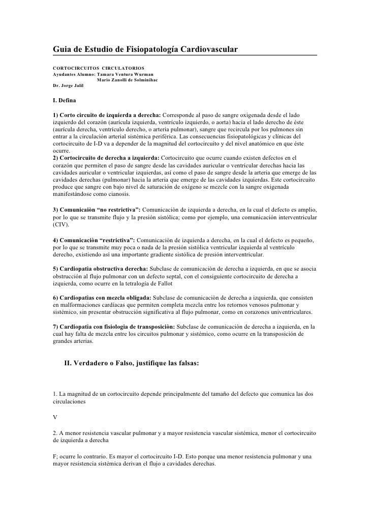 Guia de Estudio de Fisiopatología Cardiovascular  CORTOCIRCUITOS CIRCULATORIOS Ayudantes Alumno: Tamara Ventura Wurman    ...