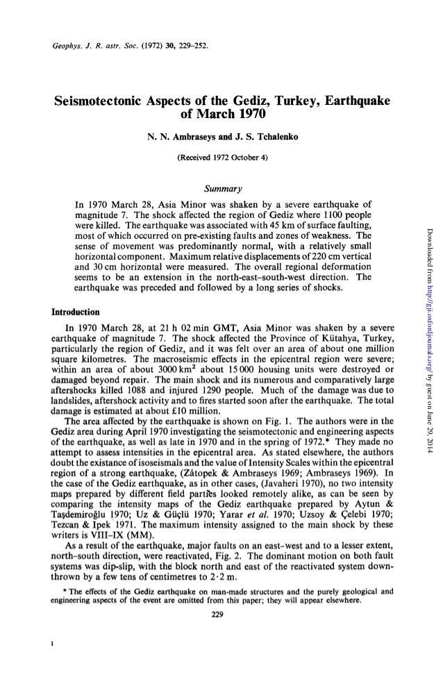 Geophys. J. R.astr. SOC.(1972) 30, 229-252. Seismotectonic Aspects of the Gediz, Turkey, Earthquake of March 1970 N. N. Ar...