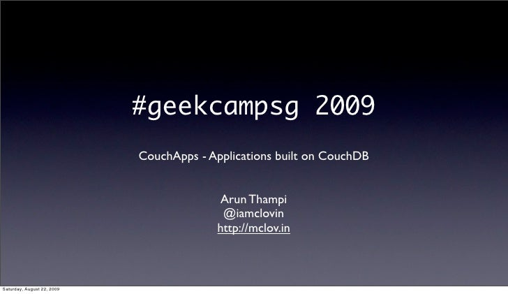 GeekCamp SG 2009 - CouchApps with CouchDB