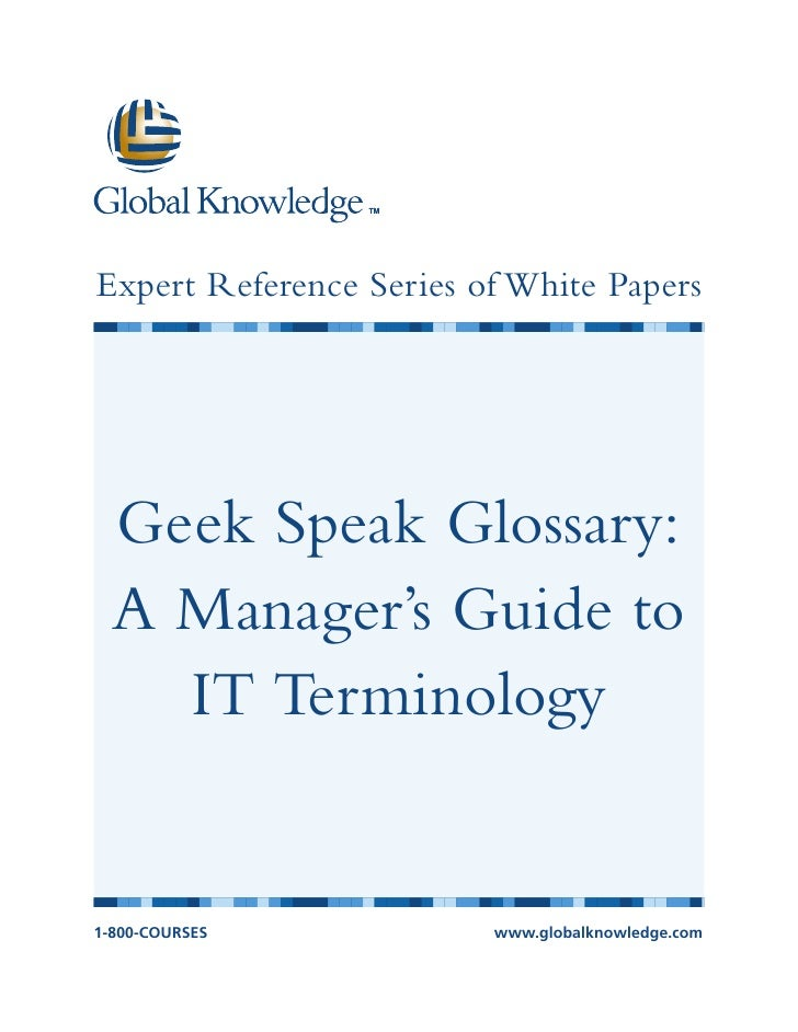 Expert Reference Series of White Papers  Geek Speak Glossary:  A Manager's Guide to    IT Terminology1-800-COURSES        ...