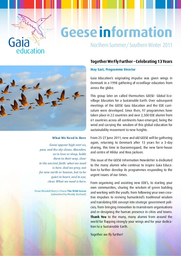 Geese informationGaia                                               Northern Summer/Southern Winter 2011 education        ...