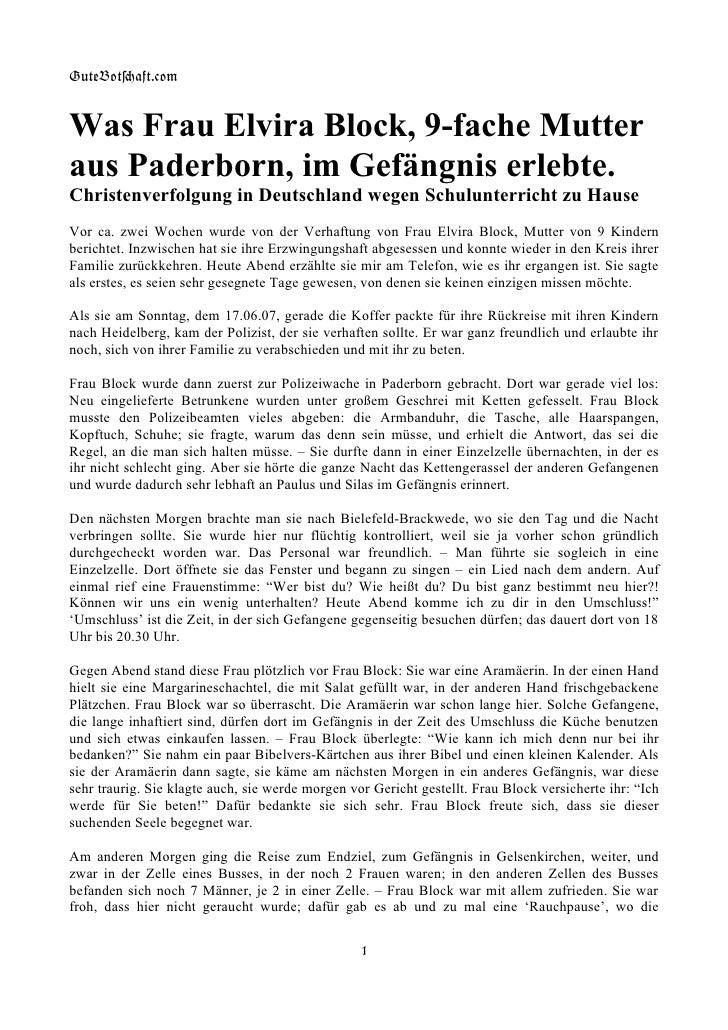 GuteBot[aft.$om   Was Frau Elvira Block, 9-fache Mutter aus Paderborn, im Gefängnis erlebte. Christenverfolgung in Deutsch...