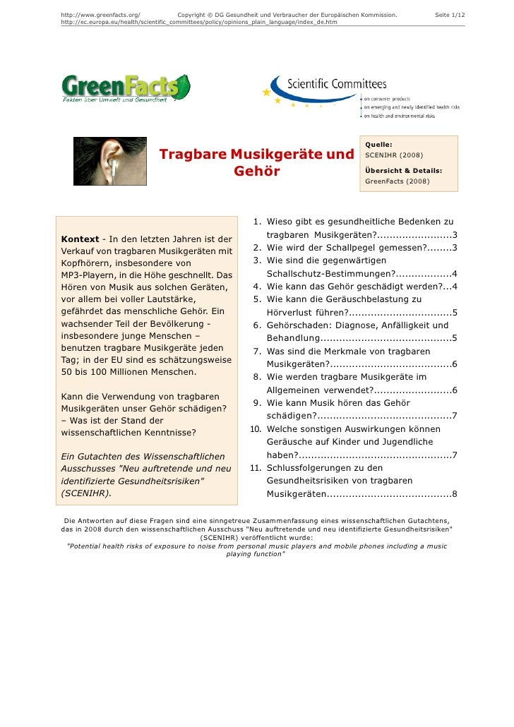 http://www.greenfacts.org/              Copyright © DG Gesundheit und Verbraucher der Europäischen Kommission.         Sei...