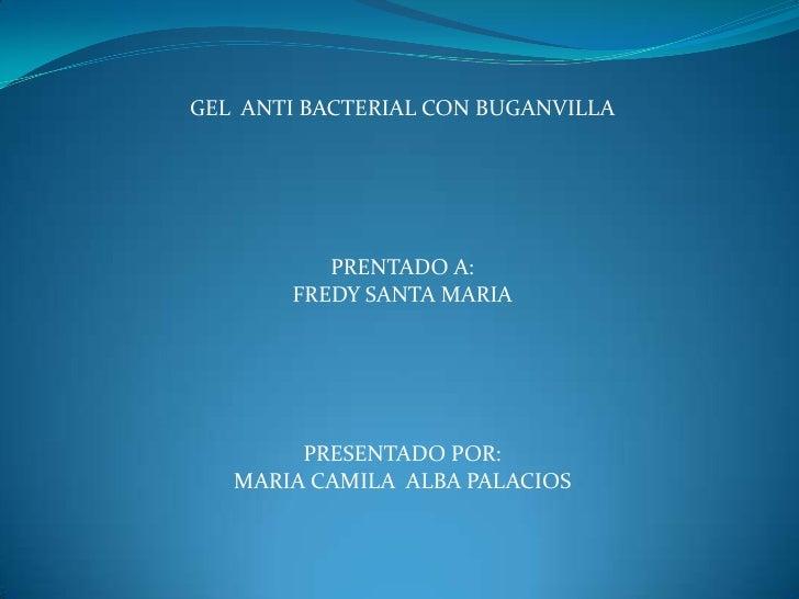 GEL  ANTI BACTERIAL CON BUGANVILLA<br />PRENTADO A:<br />FREDY SANTA MARIA<br />PRESENTADO POR:<br />MARIA CAMILA  ALBA PA...