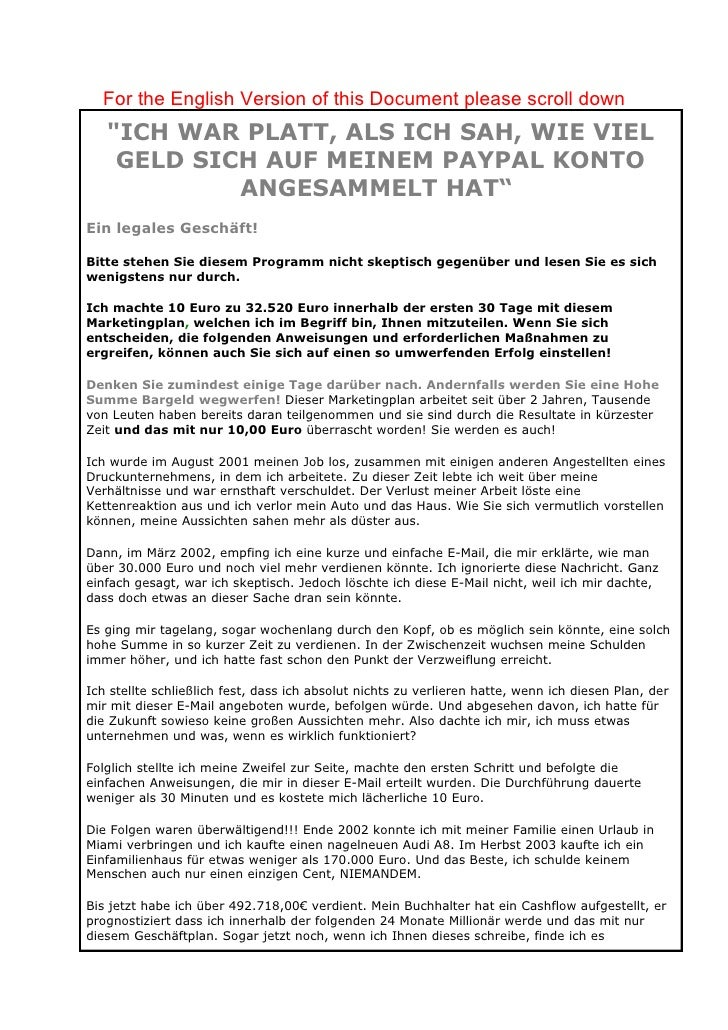 "For the English Version of this Document please scroll down    ""ICH WAR PLATT, ALS ICH SAH, WIE VIEL     GELD SICH AUF MEI..."