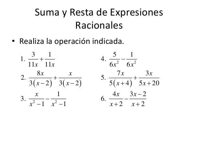 Lujoso Suma Y Resta De Expresiones Racionales Hoja Respuestas Patrón ...
