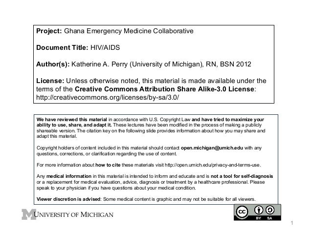 Project: Ghana Emergency Medicine Collaborative Document Title: HIV/AIDS Author(s): Katherine A. Perry (University of Mich...