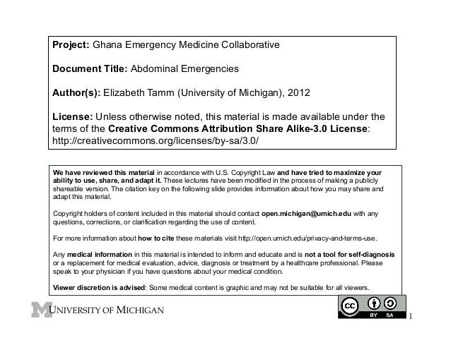 Project: Ghana Emergency Medicine Collaborative Document Title: Abdominal Emergencies Author(s): Elizabeth Tamm (Universit...