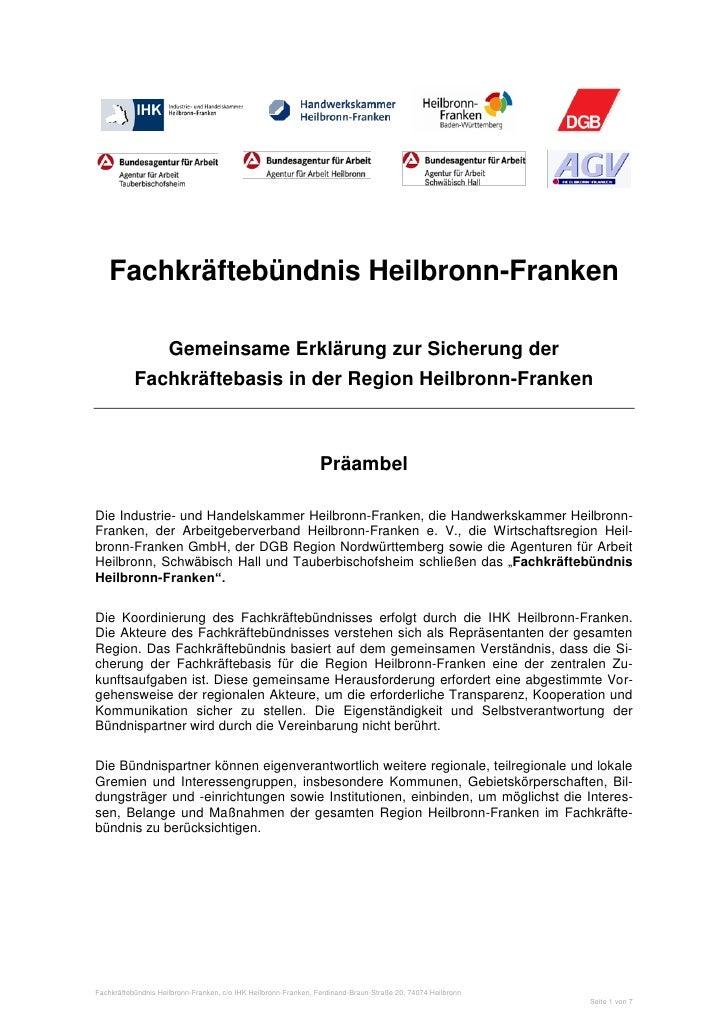 Fachkräftebündnis Heilbronn-Franken                     Gemeinsame Erklärung zur Sicherung der           Fachkräftebasis i...