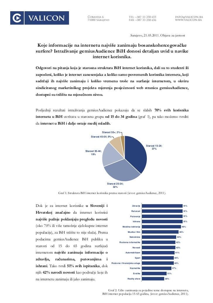 Sarajevo, 21.03.2011. Objava za javnost Koje informacije na internetu najviše zanimaju bosanskohercegovačkesurfere? Istraž...