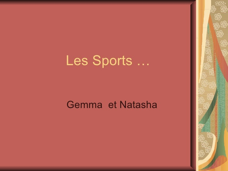 Les Sports … Gemma  et Natasha