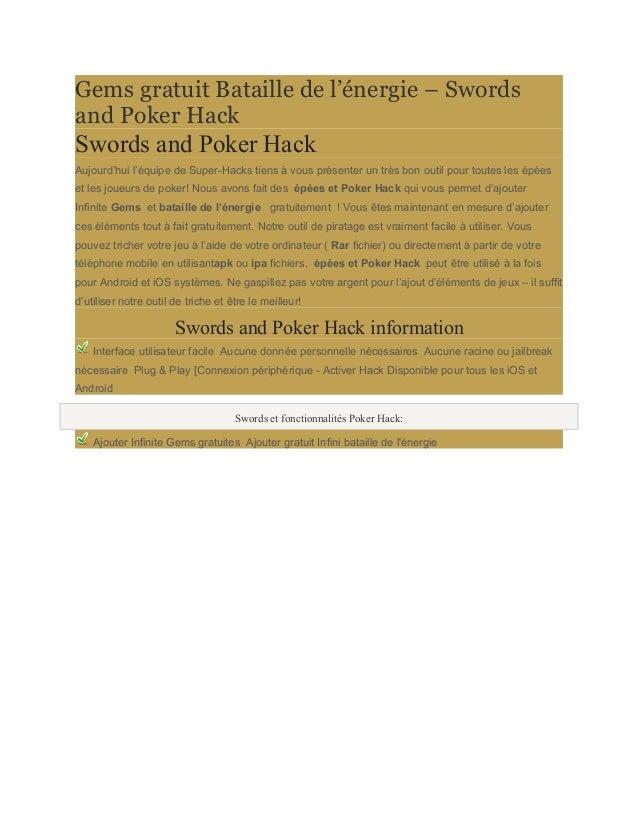 Gems gratuit Bataille de l'énergie – Swords  and Poker Hack  Swords and Poker Hack  Aujourd'hui l'équipe de Super-Hacks ti...