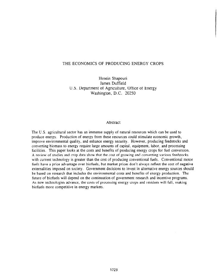 THE ECONOMICS           OF PRODUCING         ENERGY CROPS                                           Hosein Shapouri       ...