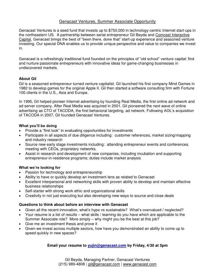 Genacast Ventures Summer Internship