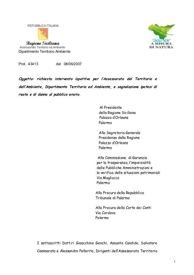 Genchi pellerito cammarata candido richiesta intervento ispettivo 8 giugno 2007