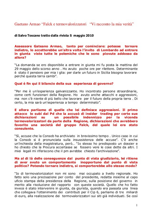 """1 Gaetano Armao """"Falck e termovalorizzatori """"Vi racconto la mia verità"""" di Salvo Toscano tratto dalla rivista S maggio 201..."""