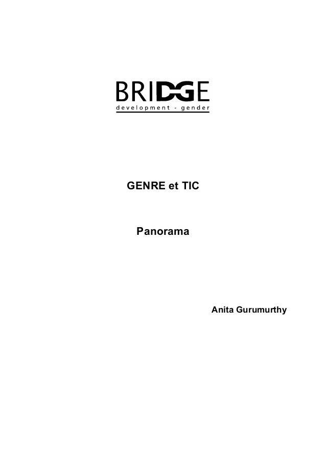 GENRE et TIC Panorama               Anita Gurumurthy