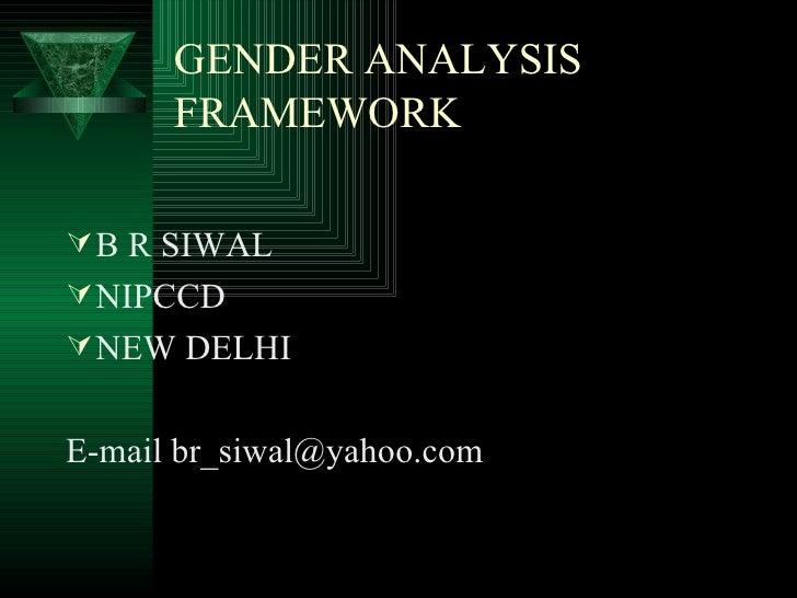 Gender Analysis Framework  & Planning (B.R. Siwal)