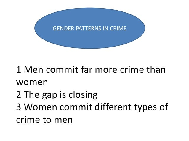 1 Men commit far more crime than women 2 The gap is closing 3 Women commit different types of crime to men GENDER PATTERNS...