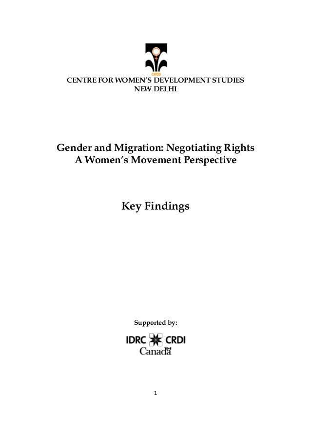 Gender and migration cwds key findings