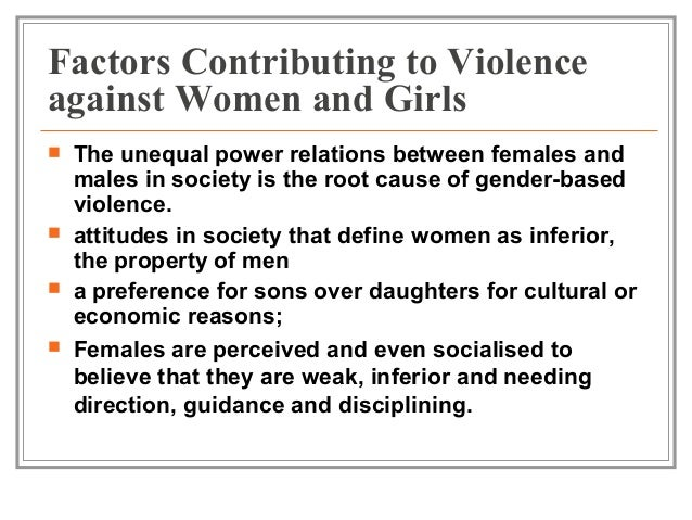 """violence recurs because the root causes A vital part of understanding a social problem, and a precursor to preventing it, is an understanding of what causes it research on the causes of violence against women has consisted of two lines of inquiry: examination of the characteristics that influence the behavior of offenders and consideration of whether some women have a heightened vulnerability to victimization."